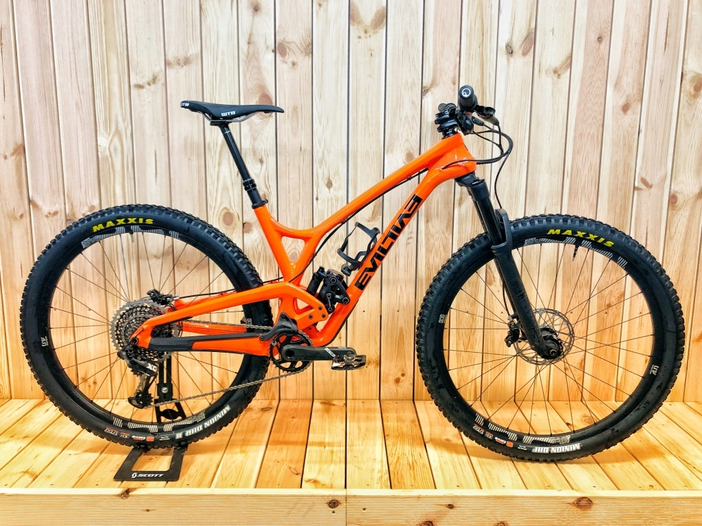 Envy Cycles shop interior with custom Evil Following Trailbike