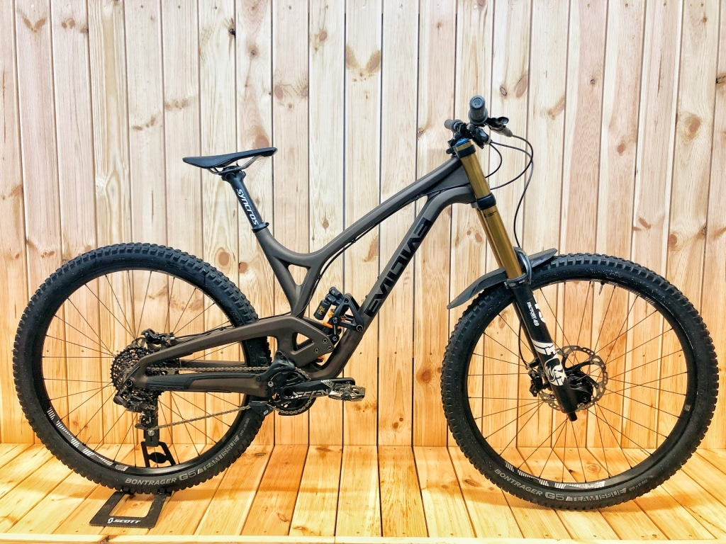 Envy Cycles shop interior with custom Evil Wreckoning Downhill bike