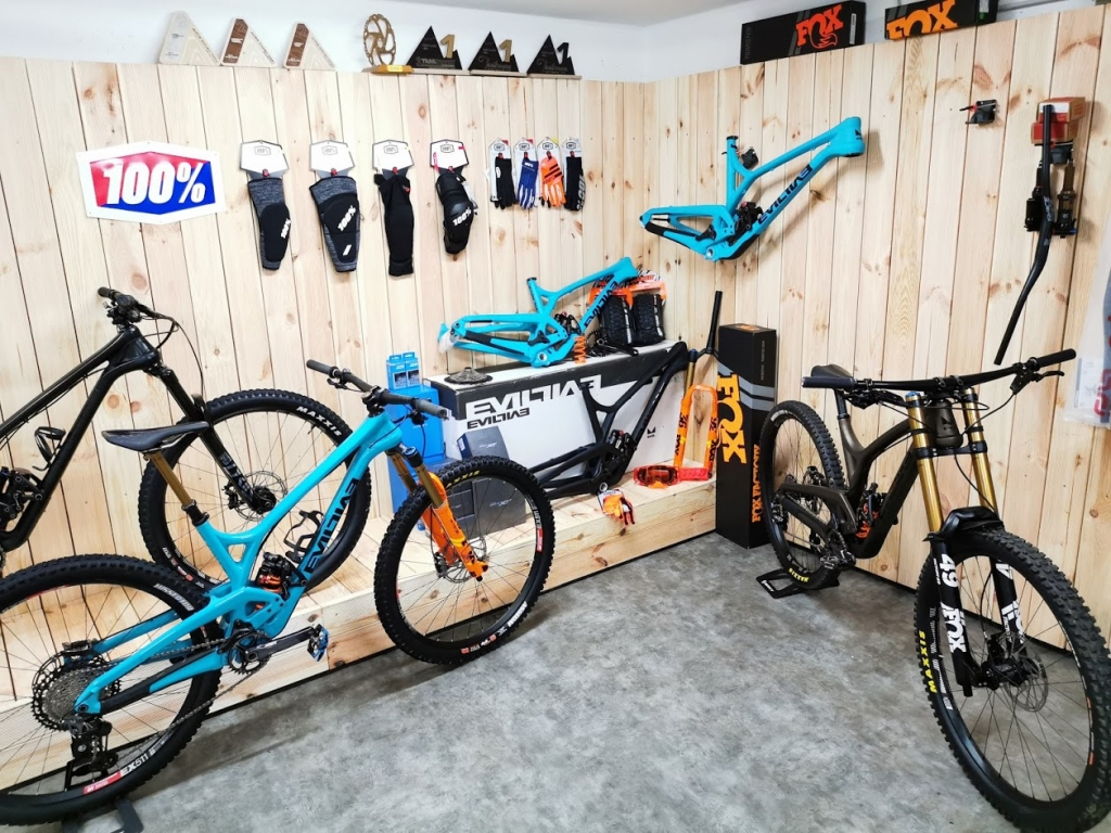 Envy Cycles Shop interior with Evil Bikes