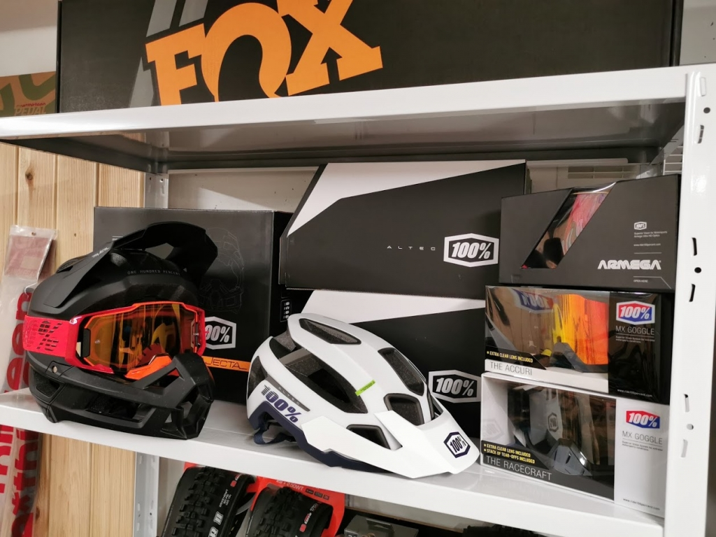Envy Cycles Shop interior with Fox Suspension, 100% helmets and goggles